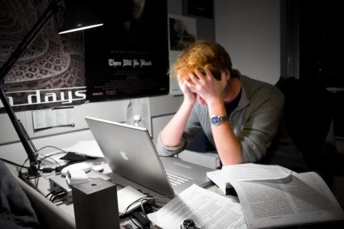 required stock photo of a frustrated office worker. Image by Peter A. Hess